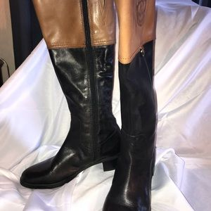Etienne Aigner cognac and black riding boot